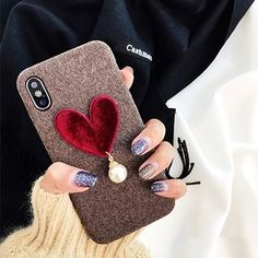 Fashion Case Cute Velvet Love Heart Phone Case for iphone X 6 /6S Plus 7 7plus Simple Soft Fabric Back Cover Cases