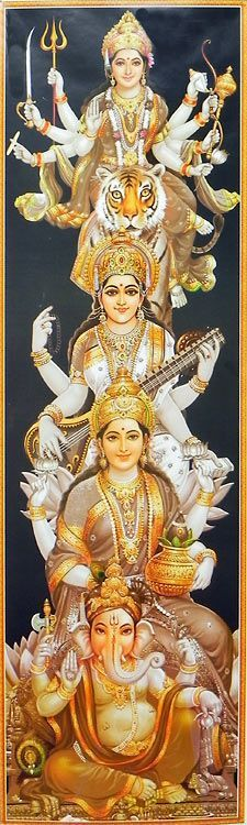 Durga, Lakshmi, Saraswati and Ganesha (Reprint on Glazed Paper - Unframed) Indian Goddess, Goddess Art, Goddess Lakshmi, Shri Hanuman, Durga Maa, Saraswati Devi, Rudra Shiva, Lakshmi Images, Hindu Mantras