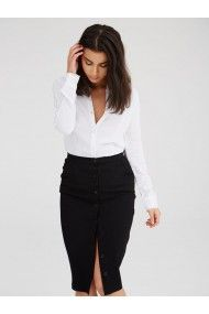 UNIQUE 21 WHITE SHIRT BLACK PENCIL SKIRT WORK CHIC AURA BLACK BUTTON DOWN PENCIL SKIRT IN A SOFT CREPE FABRIC