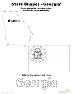 This geography themed worksheet features tracing the outline of Georgia and coloring the Georgia state flag.