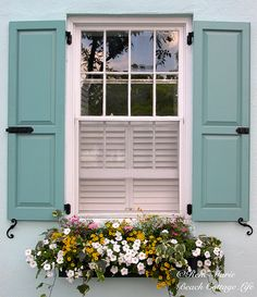 Charleston shutters window box blue fx wm by René Marie | Beach Cottage Life, via Flickr