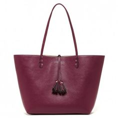 Reversible burgundy & taupe tassel tote bag