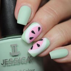 Watermelon Nails by @lelacqueredlady featuring Mint Blossom and Pink Daisy from our 2016 Summer Collection Polished in Pastels and Chalk White from our JESSICA Custom Colour Collection #summernails #nailart #pastelnails