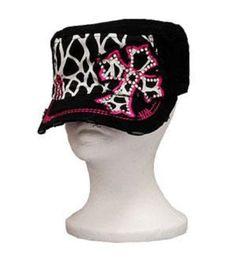 Black Leopard Print Cross Vintage Hat with Rhinestone