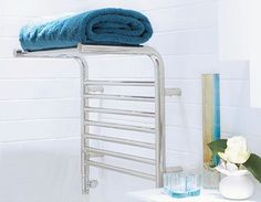 The beautiful curved design of the Jeeves Tangent M Heated Towel Rail is perfect for drying towels and keeping your folded towels warm ‪ Newhaven, Towel Warmer, Heated Towel Rail, Friday Feeling, Bathroom Accessories, Bring It On, Choices, Interior Design, Closer