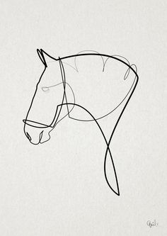 One line Horse 1403 Canvas Print