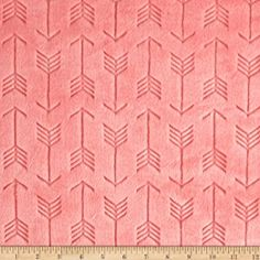 Shannon Minky Embossed Arrow Cuddle Coral Fabric By The Yard