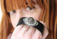 Black Leather Cuff Bracelet, Antique Button Jewelry by veryDonna