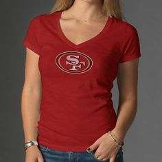 San Francisco 49ers NFL Scrum Womens V-Neck Tee (Rescue Red) Price   638f1d13e0ec