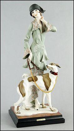 Giuseppe Armani Figure of a Lady with a Dog : Lot 137-2007 #armani #figurine #porcelain