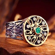 Royal Eye of Horus Ring Silver and Gold