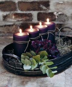Tischdekor mit Metall Tablett und Kerzen
