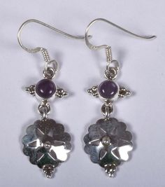 925 Solid Sterling Silver Earring Natural Amethyst Gemstone 2.00 Inches JSEA-57 #JaipurSilver
