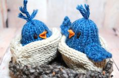 Blue Birds in Nest Waldorf Soft Knit Toy for Boys and Girls - Bird Hatchlings in Nest - Woodland Nursery - 5 piece set - Eco Friendly Toy on Etsy, $58.00