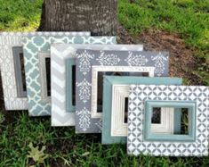 set of six distressed frames--multi patterned in revere pewter, heirloom white, robins egg, & charcoal Marco Diy, Distressed Frames, Picture Frame Decor, Revere Pewter, Simple Pictures, Frame Display, Frame Crafts, Diy Photo, Painting Frames