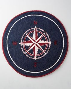 Compass Nautical Hooked Wool Rug