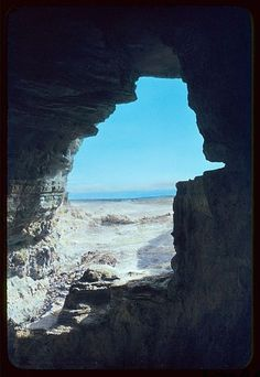 5. A view of the Dead Sea from a cave at Qumran in which some of the Dead Sea Scrolls were discovered.