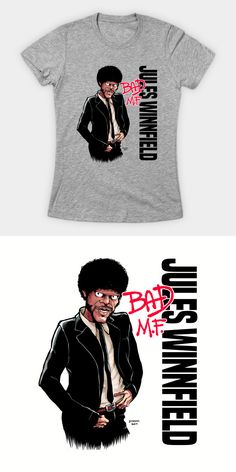 Pulp Fiction Michael Jackson Bad Parody T Shirt. A hilarious mashup of Jules Winnfield and the King of Pop's famous album cover. Geek Shirts, Cool T Shirts, Funny Tees, Funny Tshirts, Famous Album Covers, Culture T Shirt, Michael Jackson Bad, Movie T Shirts, Quentin Tarantino