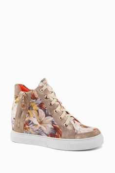 Wedge Trainers With Flower Print - Trainers - Shoes