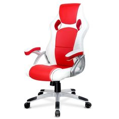 Racing Offce Chair PU Leather Executive Office Computer Gaming Chair High Back White Red