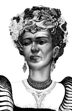 Frida Kahlo  2012  pencil and ink  by Iain macarthur  www.iainmacarthur.carbonmade.com