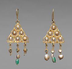 Earrings (pair), Period: Early Byzantine; circa: 600s; Materials: gold, pearls, glass, and emeral...