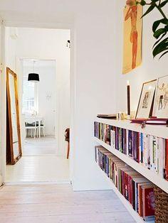 Low bookshelves for underneath window Low Bookshelves, Floating Bookshelves, Low Shelves, Shelving, Casa Milano, Bibliotheque Design, Amazing Decor, Home Decor Inspiration, My Dream Home