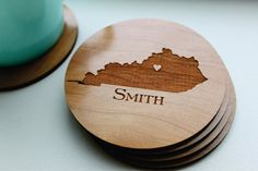 Personalized Wood Coaster Set of 4 Custom di SugarTreeGallery