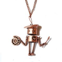Copper Artist Necklace features a curious, creative bot armed with palette, brush, and beret.