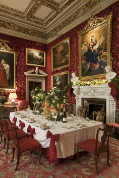 The North Dining Room with the table set ready for the Christmas feast.