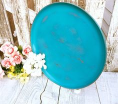 Shabby Chic Antiqued Teal Round Serving Tray by HuckleberryVntg, $36.00