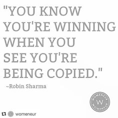 #Repost @womeneur with @repostapp. We've seen our fair share of articles and social media posts about business owners feeling like they're being copied - some blatantly and outright. Just keep these in mind: 1. No one can execute like you - and execution is KEY 2. You have something unique that other people want 3. Realize that they will always be steps behind 4. They only know where you've been but have no idea where you're going Business owners don't fret we dedicate this post to you…