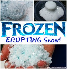 'Frozen' Erupting Snow - Indoor winter fun can be excellent on a cold, wet day. Give this experiment a try to bring the outs - Sensory Activities, Sensory Play, Activities For Kids, Frozen Activities, Camping Activities, Camping Ideas, Kids Christmas Activities, Disney Activities, Sensory Table
