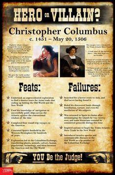Christopher Columbus: Hero or Villain? Mini-Poster Christopher Columbus: Hero or Villain? World History Classroom, Ap World History, History Education, History Teachers, Teaching History, Black History, American History, High School World History, History Activities