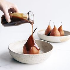 Spiced Poached Pears with Salted Caramel - One of my favourite thngs to do with pears is poach them with lots of lovely spices & orange