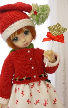"""Make a Christmas Wish"", a hand made Christmas ensemble made for Kaye Wiggs Millie and Tillie BJD dolls, cindyricedesigns.com"