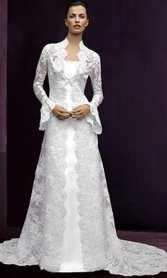 Lace horn long-sleeved tail coat + harness two-piece wedding dress factory outlet tailored Muslim Wedding Dresses, Stunning Wedding Dresses, Modest Wedding Dresses, Bridal Dresses, Beautiful Dresses, Nice Dresses, Priscilla Of Boston Wedding Dresses, Two Piece Wedding Dress, Dress Wedding