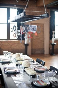 Modern Valentine's Day Table  Love this chandelier effect you found, Lauren!  Keep the X's and O's, or change them to L's and R's?  Hmmm...