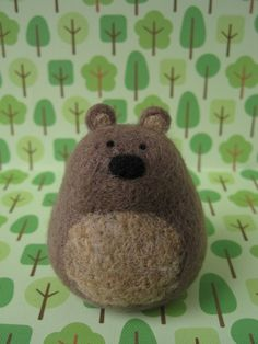 Needle Felted Brown Bear Wool Soft Sculpture by PeakVintage, $18.00