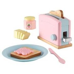 Breakfast is served! Our Wooden Toaster Set is perfect for young boys and girls who like helping out in the kitchen. It's a one-of-a-kind interactive toy that makes a great gift for any occasion. Features include: available in three styles: Espresso, Pastel, Red & White; toaster handle presses down, pops back up; pretend stick of butter; butter is held together by hook-and-loop material and can be pulled apart easily; two slices of pretend bread; butter plate; butter knife; pret...