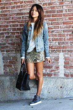 camisa jeans com saia de paete - Pesquisa Google