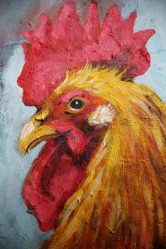 Rooster And Hen Acrylic Painting on Recycled by leboxboutique, $150.00