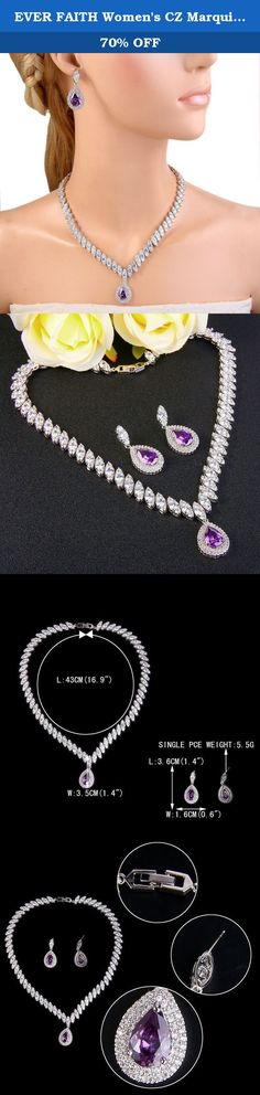 EVER FAITH Women's CZ Marquise-Shaped Leaf Teardrop Pendant Necklace Earrings Set Purple Silver-Tone. This fabulous jewelry is made of cubic zirconia and the bedazzling stones make you feel more ladylike. Cubic zirconia, as a beautiful synthetic stone that is durable, lustrous and entirely colorless. It is frequently used in jewelry.Sparkle under lights, telling its quality to everybody. Ever Faith As a company that concentrates on fine and fashion jewelry, we already have about 15 years...