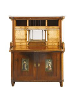 A NORTHERN EUROPEAN MAHOGANY AND SATINWOOD SECRETAIRE À ABATTANT EARLY 19TH CENTURY