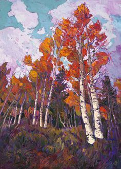 Inspired by rock climbing Hanson has since spent almost a decade painting. Erin Hanson has created a unique style of her own, bringing elements of classic impressionism together with modern expressionism.