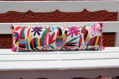 Rainbow Multi colored Pom Pom Authentic Otomi Folk by Mexico, Tenango, mexican wedding, textile, mexican suzani, suzani, embroidery, hand embroidered, otomi, www.casaotomi.com, otomi, table runner, fiber art, mexican, handmade, original, authetic, textile , mexico casa, mexican decor, mexican interior, frida, kahlo, mexican folk,  folk art, mexican house, mexican home, puebla collection, las flores, travel tote, boho, tote, handbag, purse, cushion, pillow, gift basket