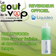 E-Liquide HOLLYWOOD de la gamme Liquideo liquide recharge cigarette électronique flacon de 10 ml  Une saveur tellement fraîche et douce en même temps  Vous l'adorerez et l'adapterez des la première Bouffés.  Disponible dans votre boutique LE GOUT DE LA VAP.