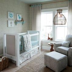 Taupe Suzani Crib Bedding | Brown and Blue Large Print Gender Neutral Crib Bedding | Carousel Designs