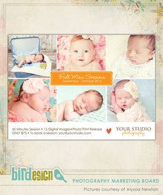 Photography Marketing board | Little ones | Photoshop templates for photographers by Birdesign