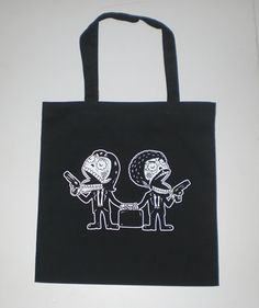 Pulp Fiction Calaveras Canvas Black Shopping Tote Bag <3
